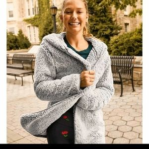 VS pink hoodie Sherpa cardigan coat sweater gray